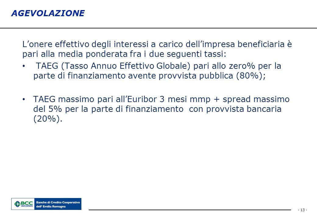- 13 - AGEVOLAZIONE L'onere effettivo degli interessi a carico dell'impresa beneficiaria è pari alla media ponderata fra i due seguenti tassi: TAEG (T