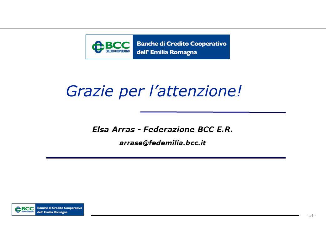 - 14 - Elsa Arras - Federazione BCC E.R. arrase@fedemilia.bcc.it Grazie per l'attenzione!