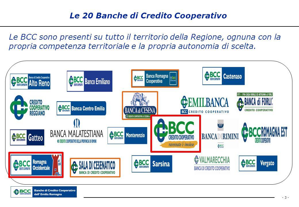 - 3 - Le 20 Banche di Credito Cooperativo Le BCC sono presenti su tutto il territorio della Regione, ognuna con la propria competenza territoriale e l