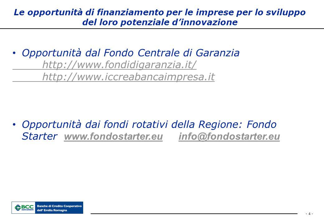 - 4 - Le opportunità di finanziamento per le imprese per lo sviluppo del loro potenziale d'innovazione Opportunità dal Fondo Centrale di Garanzia http