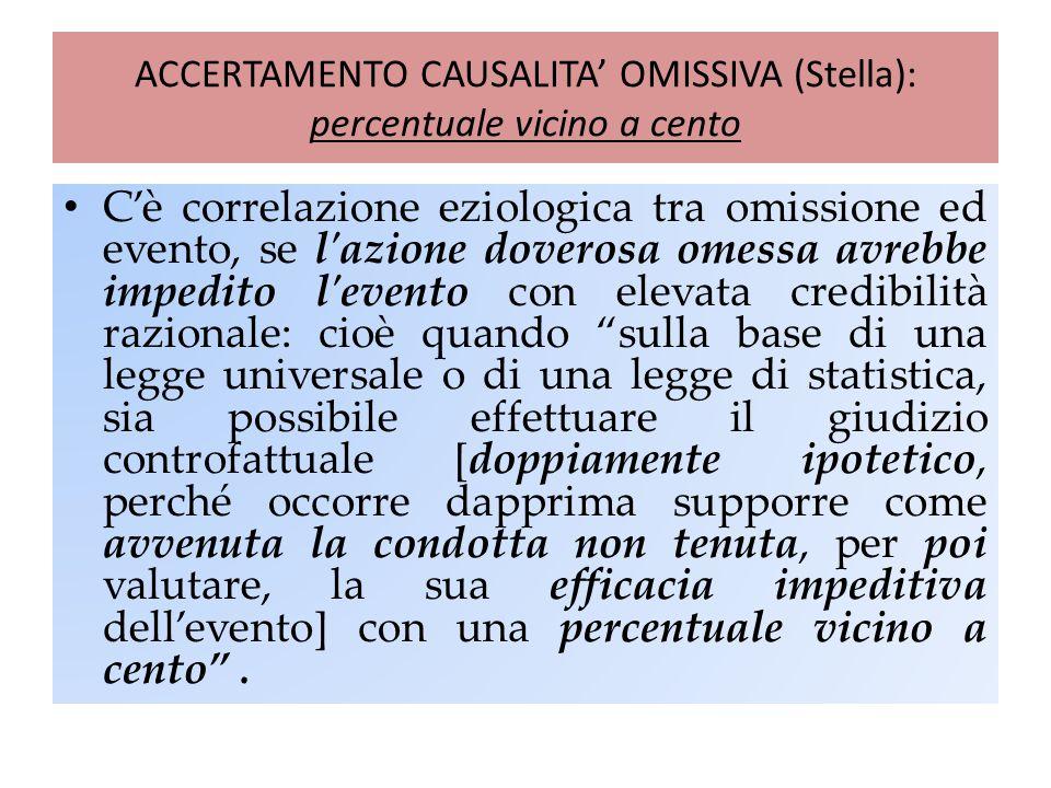 ACCERTAMENTO CAUSALITA' OMISSIVA (Stella): percentuale vicino a cento C'è correlazione eziologica tra omissione ed evento, se l'azione doverosa omessa