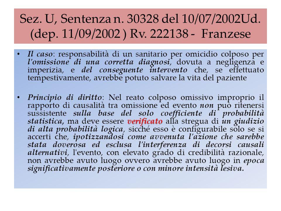 Sez. U, Sentenza n. 30328 del 10/07/2002Ud. (dep. 11/09/2002 ) Rv. 222138 - Franzese Il caso: responsabilità di un sanitario per omicidio colposo per