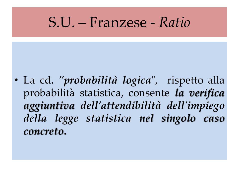 S.U. – Franzese - Ratio la verifica aggiuntiva nel singolo caso concreto. La cd.