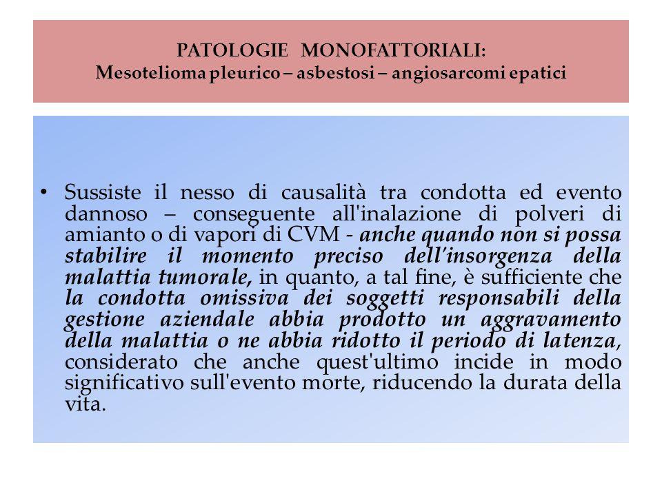 PATOLOGIE MONOFATTORIALI: Mesotelioma pleurico – asbestosi – angiosarcomi epatici Sussiste il nesso di causalità tra condotta ed evento dannoso – cons