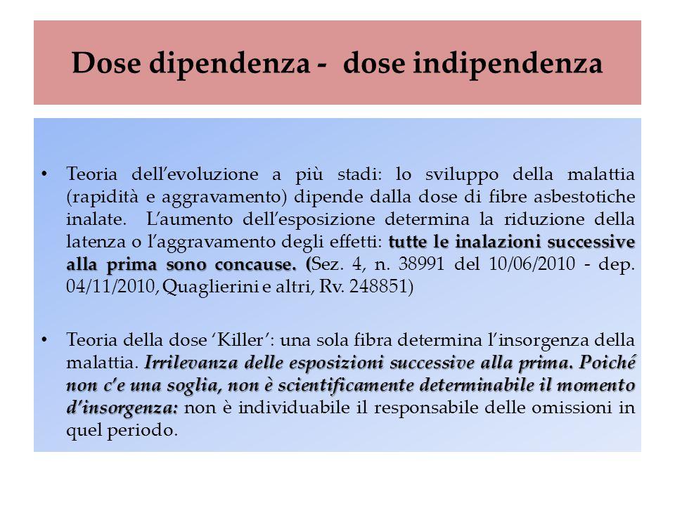 Dose dipendenza - dose indipendenza tutte le inalazioni successive alla prima sono concause. ( Teoria dell'evoluzione a più stadi: lo sviluppo della m