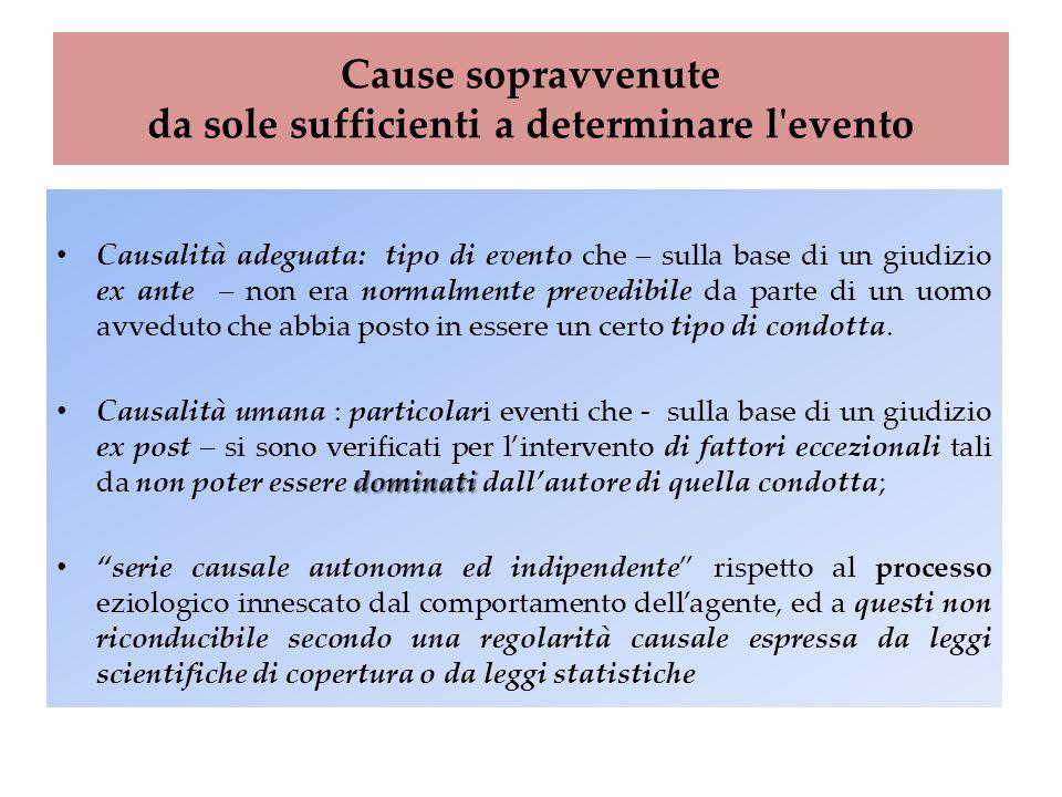 Cause sopravvenute da sole sufficienti a determinare l'evento Causalità adeguata: tipo di evento che – sulla base di un giudizio ex ante – non era nor