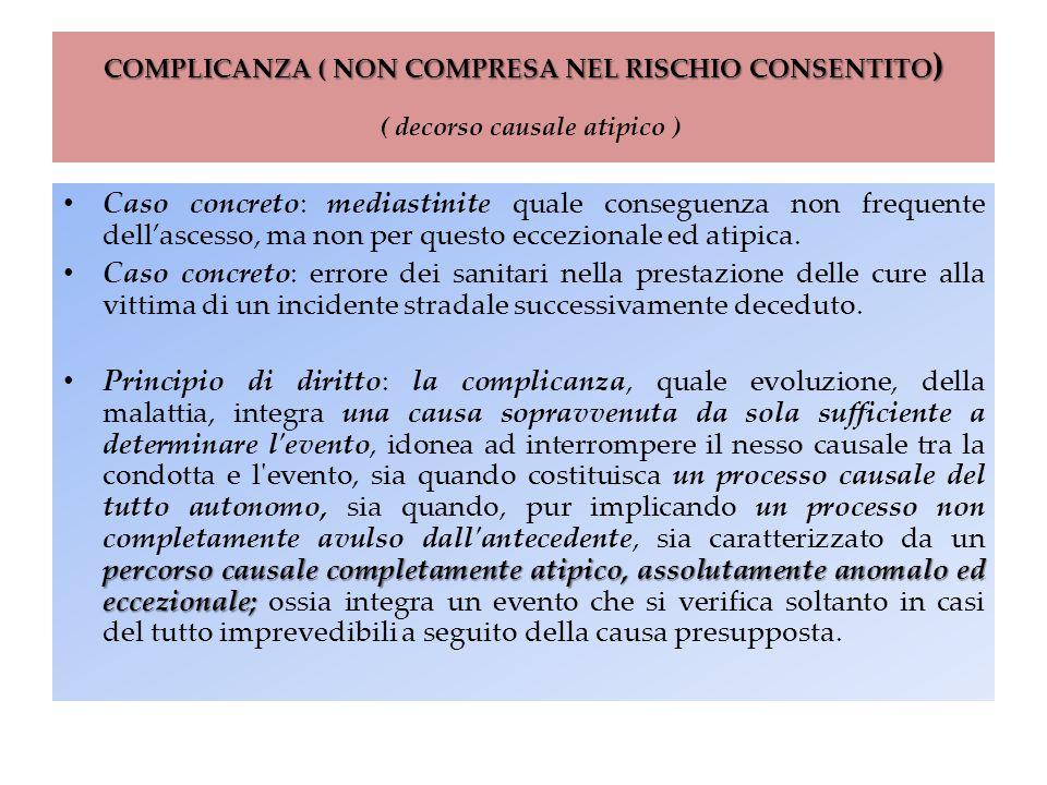 COMPLICANZA ( NON COMPRESA NEL RISCHIO CONSENTITO ) COMPLICANZA ( NON COMPRESA NEL RISCHIO CONSENTITO ) ( decorso causale atipico ) Caso concreto: med