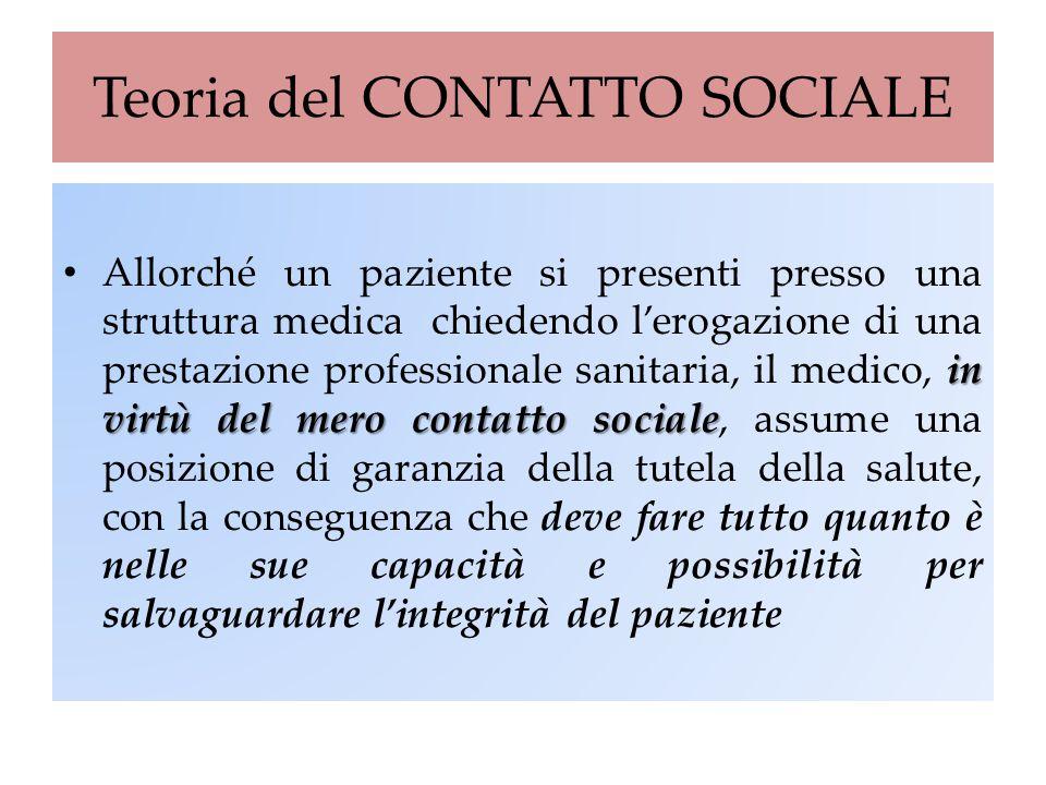 Teoria del CONTATTO SOCIALE in virtù del mero contatto sociale Allorché un paziente si presenti presso una struttura medica chiedendo l'erogazione di