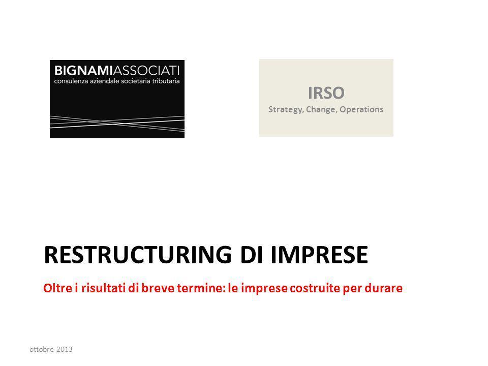 RESTRUCTURING DI IMPRESE Oltre i risultati di breve termine: le imprese costruite per durare ottobre 2013 IRSO Strategy, Change, Operations