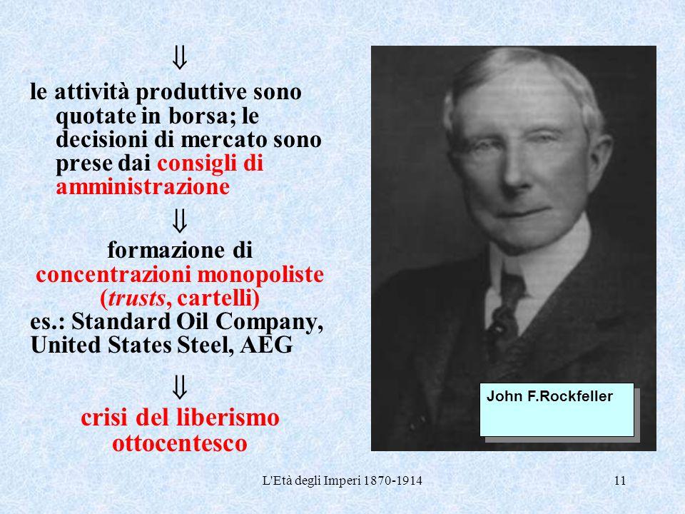 L'Età degli Imperi 1870-191411  le attività produttive sono quotate in borsa; le decisioni di mercato sono prese dai consigli di amministrazione  fo