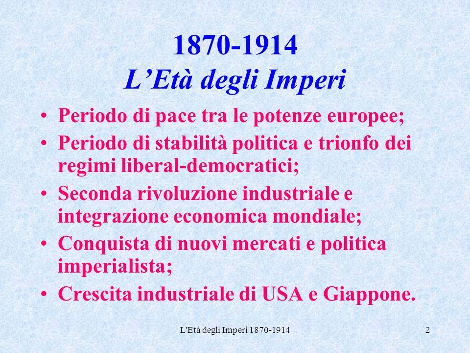 L'Età degli Imperi 1870-19142 1870-1914 L'Età degli Imperi Periodo di pace tra le potenze europee; Periodo di stabilità politica e trionfo dei regimi