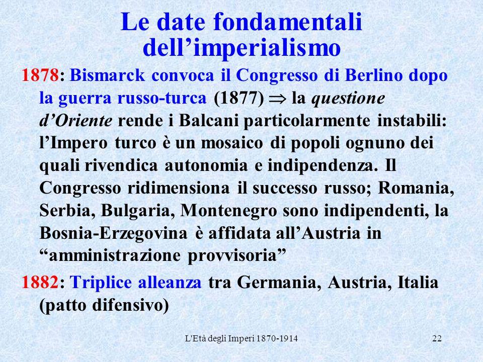 L'Età degli Imperi 1870-191422 Le date fondamentali dell'imperialismo 1878: Bismarck convoca il Congresso di Berlino dopo la guerra russo-turca (1877)