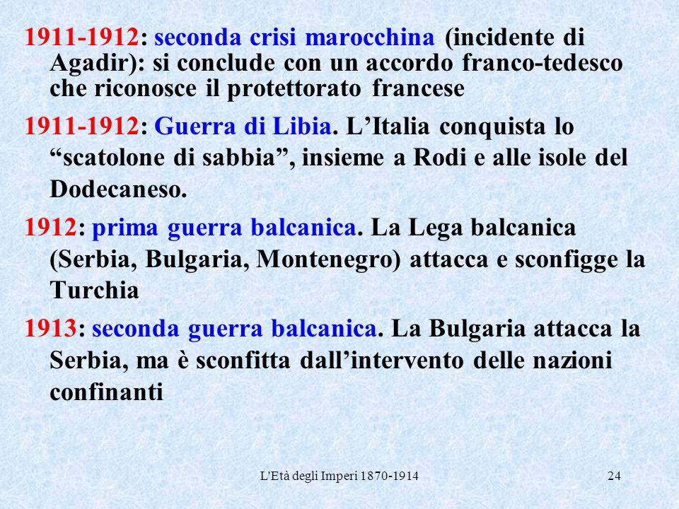 L'Età degli Imperi 1870-191424 1911-1912: seconda crisi marocchina (incidente di Agadir): si conclude con un accordo franco-tedesco che riconosce il p