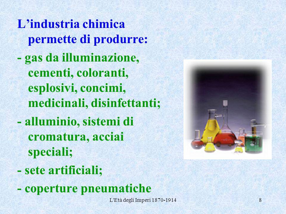 L'Età degli Imperi 1870-19148 L'industria chimica permette di produrre: - gas da illuminazione, cementi, coloranti, esplosivi, concimi, medicinali, di