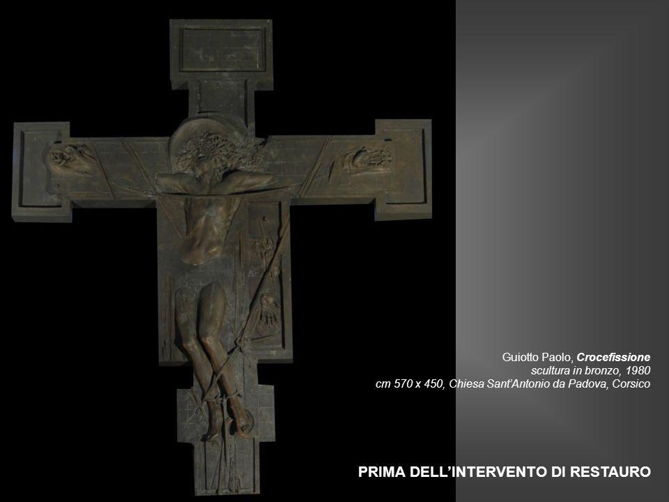 Guiotto Paolo, Crocefissione scultura in bronzo, 1980 cm 570 x 450, Chiesa Sant'Antonio da Padova, Corsico PRIMA DELL'INTERVENTO DI RESTAURO