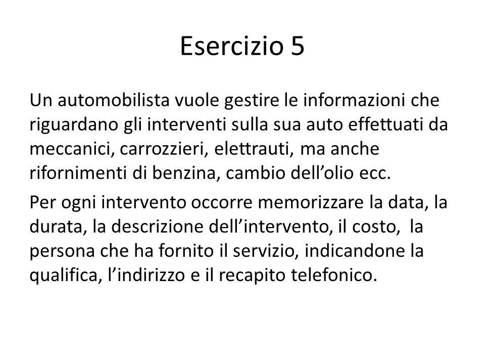 Esercizio 5 Un automobilista vuole gestire le informazioni che riguardano gli interventi sulla sua auto effettuati da meccanici, carrozzieri, elettrau
