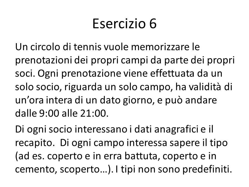 Esercizio 6 Un circolo di tennis vuole memorizzare le prenotazioni dei propri campi da parte dei propri soci. Ogni prenotazione viene effettuata da un
