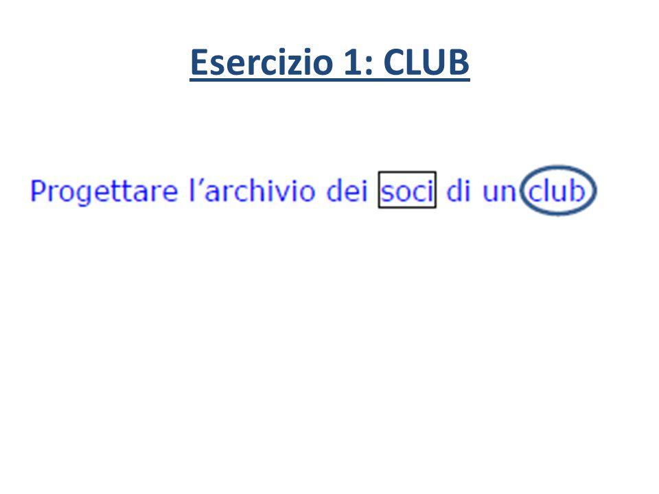 Esercizio 1: CLUB