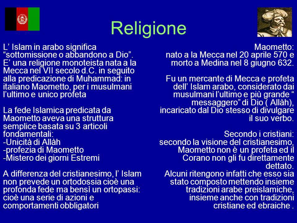 """Religione L' Islam in arabo significa """"sottomissione o abbandono a Dio"""". E' una religione monoteista nata a la Mecca nel VII secolo d.C. in seguito al"""