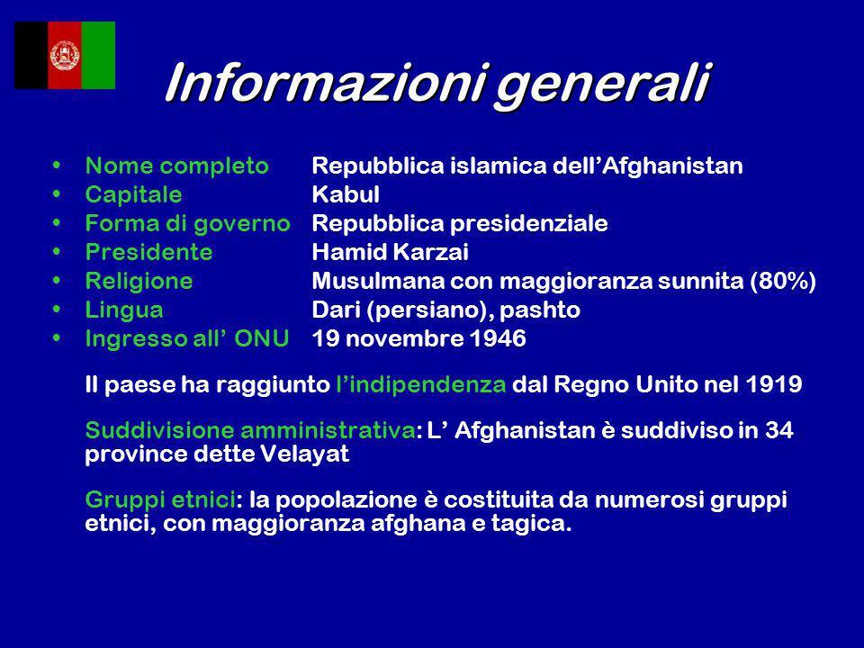 Informazioni generali Nome completoRepubblica islamica dell'Afghanistan CapitaleKabul Forma di governoRepubblica presidenziale PresidenteHamid Karzai