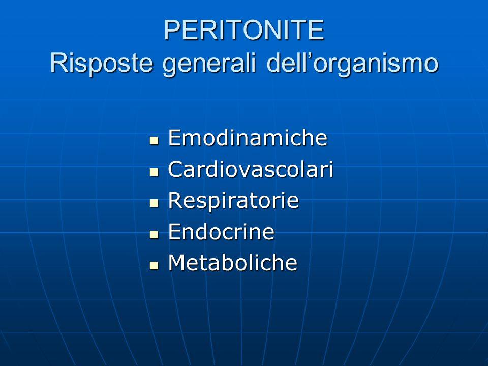 PERITONITE Risposte generali dell'organismo Emodinamiche Emodinamiche Cardiovascolari Cardiovascolari Respiratorie Respiratorie Endocrine Endocrine Metaboliche Metaboliche