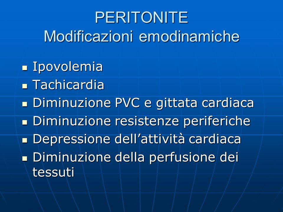 PERITONITE Modificazioni emodinamiche Ipovolemia Ipovolemia Tachicardia Tachicardia Diminuzione PVC e gittata cardiaca Diminuzione PVC e gittata cardiaca Diminuzione resistenze periferiche Diminuzione resistenze periferiche Depressione dell'attività cardiaca Depressione dell'attività cardiaca Diminuzione della perfusione dei tessuti Diminuzione della perfusione dei tessuti