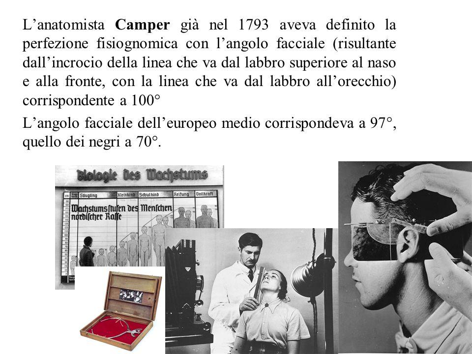 L'anatomista Camper già nel 1793 aveva definito la perfezione fisiognomica con l'angolo facciale (risultante dall'incrocio della linea che va dal labb