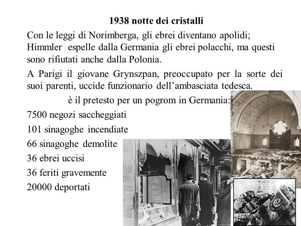 1938 notte dei cristalli Con le leggi di Norimberga, gli ebrei diventano apolidi; Himmler espelle dalla Germania gli ebrei polacchi, ma questi sono rifiutati anche dalla Polonia.