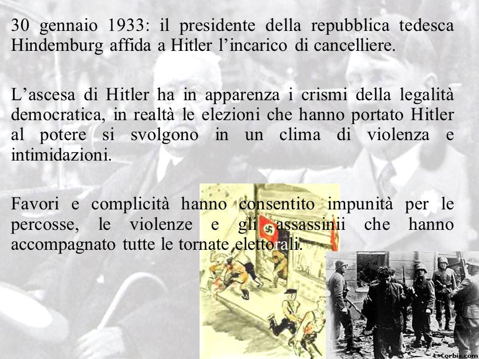 30 gennaio 1933: il presidente della repubblica tedesca Hindemburg affida a Hitler l'incarico di cancelliere. L'ascesa di Hitler ha in apparenza i cri