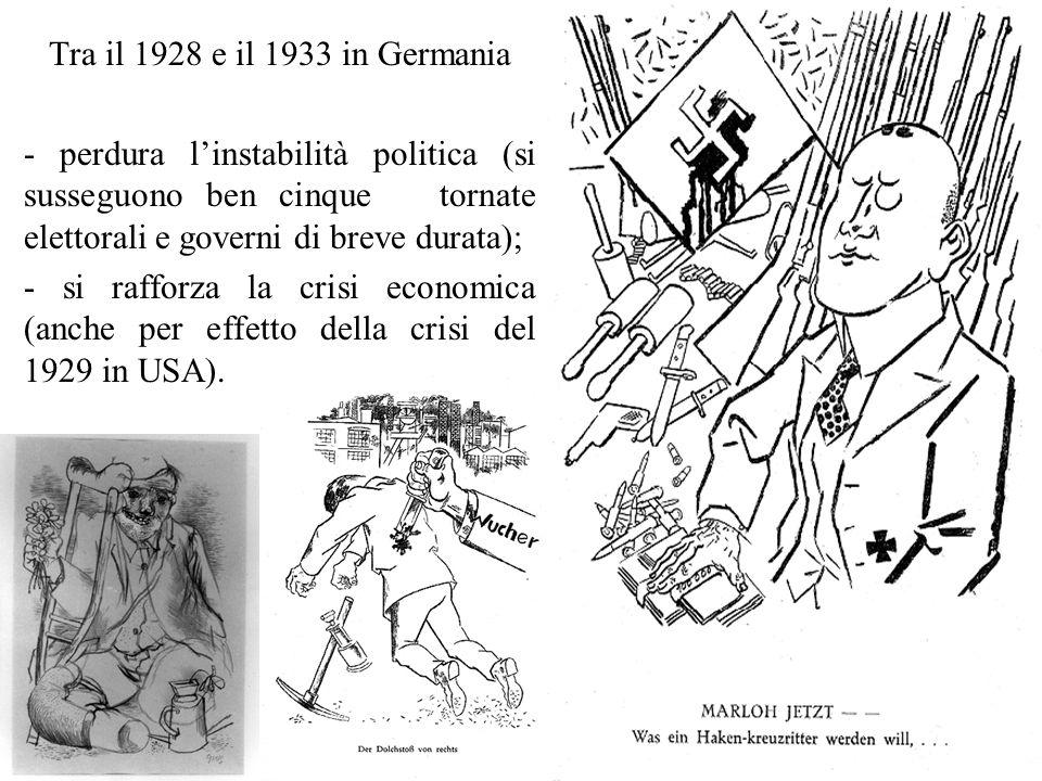 Tra il 1928 e il 1933 in Germania - perdura l'instabilità politica (si susseguono ben cinque tornate elettorali e governi di breve durata); - si rafforza la crisi economica (anche per effetto della crisi del 1929 in USA).