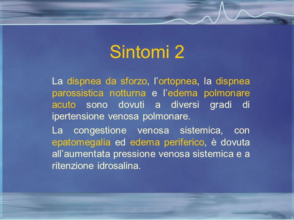 Sintomi 2 La dispnea da sforzo, l'ortopnea, la dispnea parossistica notturna e l'edema polmonare acuto sono dovuti a diversi gradi di ipertensione ven