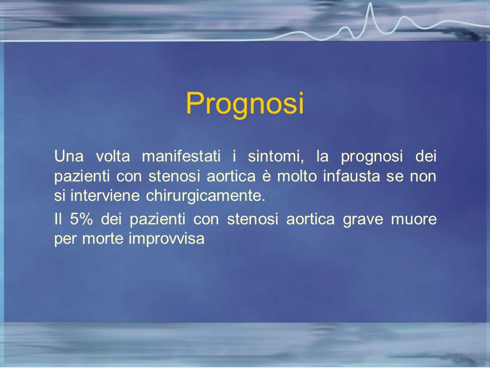 Prognosi Una volta manifestati i sintomi, la prognosi dei pazienti con stenosi aortica è molto infausta se non si interviene chirurgicamente. Il 5% de