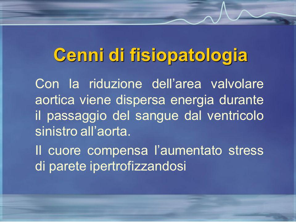 Cenni di fisiopatologia Con la riduzione dell'area valvolare aortica viene dispersa energia durante il passaggio del sangue dal ventricolo sinistro al