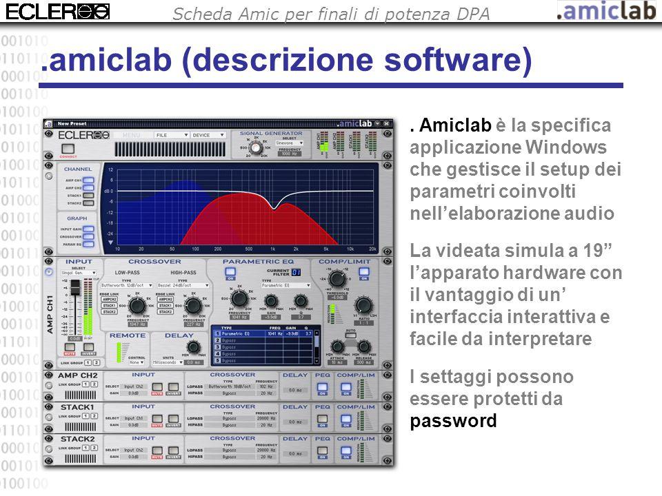 Scheda Amic per finali di potenza DPA.amiclab (descrizione software). Amiclab è la specifica applicazione Windows che gestisce il setup dei parametri
