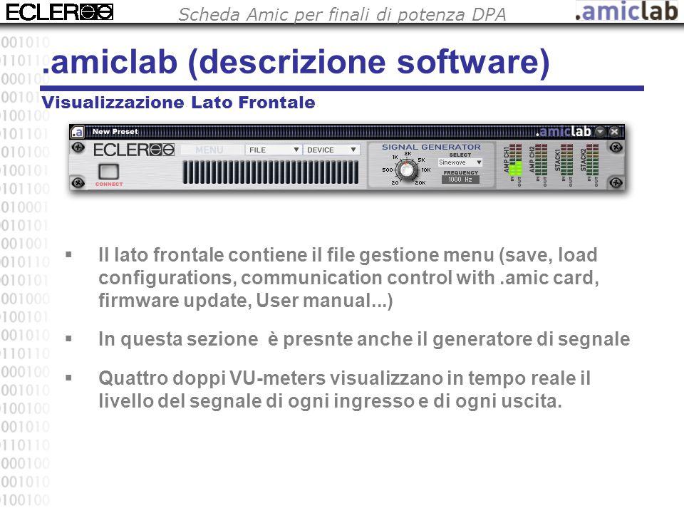 Scheda Amic per finali di potenza DPA Visualizzazione Lato Frontale  Il lato frontale contiene il file gestione menu (save, load configurations, comm