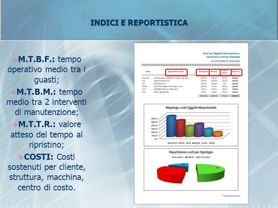 INDICI E REPORTISTICA  M.T.B.F.: tempo operativo medio tra i guasti;  M.T.B.M.: tempo medio tra 2 interventi di manutenzione;  M.T.T.R.: valore att