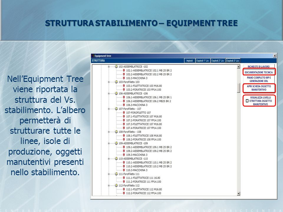 STRUTTURA STABILIMENTO – EQUIPMENT TREE Nell'Equipment Tree viene riportata la struttura del Vs. stabilimento. L'albero permetterà di strutturare tutt