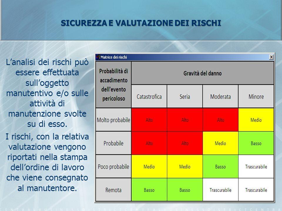 SICUREZZA E VALUTAZIONE DEI RISCHI L'analisi dei rischi può essere effettuata sull'oggetto manutentivo e/o sulle attività di manutenzione svolte su di