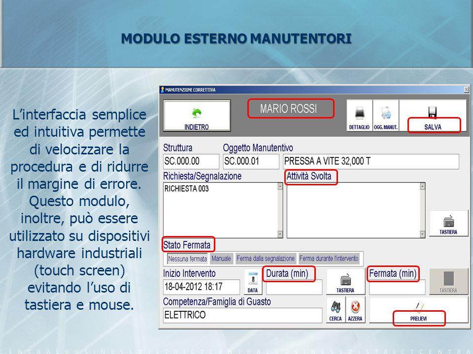 MODULO ESTERNO MANUTENTORI L'interfaccia semplice ed intuitiva permette di velocizzare la procedura e di ridurre il margine di errore. Questo modulo,