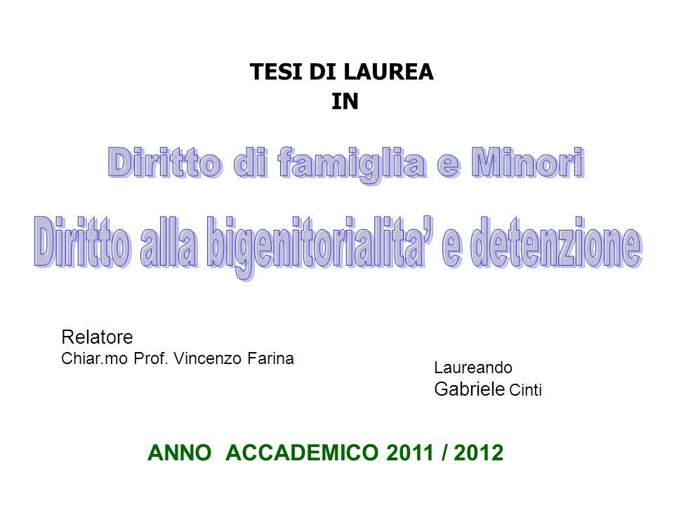 TESI DI LAUREA IN Relatore Chiar.mo Prof. Vincenzo Farina Laureando Gabriele Cinti ANNO ACCADEMICO 2011 / 2012