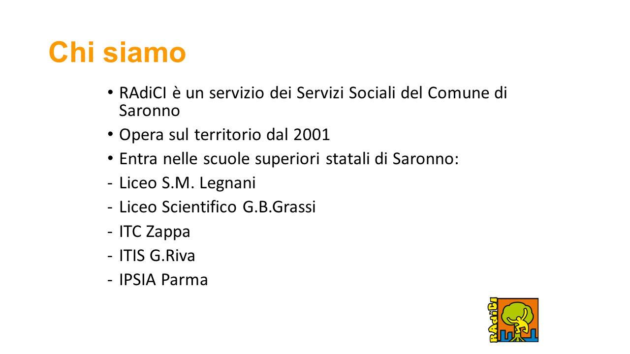 Chi siamo RAdiCI è un servizio dei Servizi Sociali del Comune di Saronno Opera sul territorio dal 2001 Entra nelle scuole superiori statali di Saronno: -Liceo S.M.