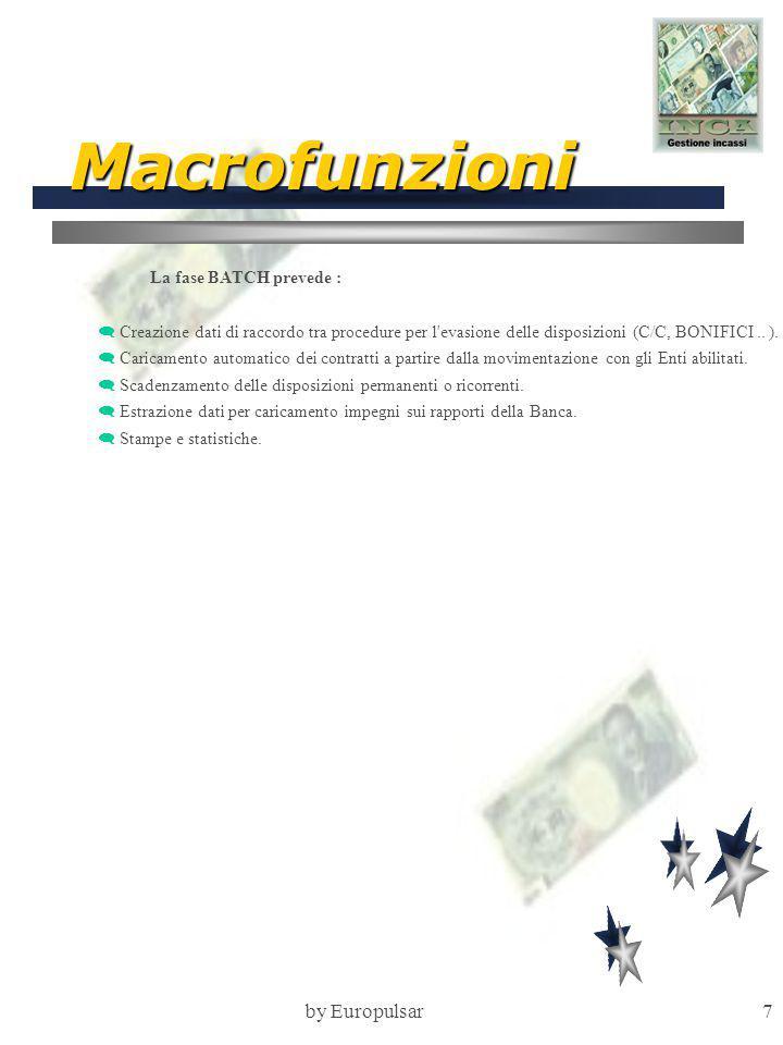 by Europulsar7 Macrofunzioni La fase BATCH prevede :  Creazione dati di raccordo tra procedure per l evasione delle disposizioni (C/C, BONIFICI..