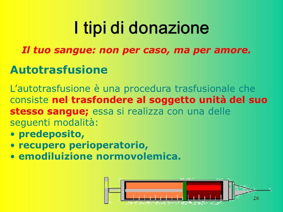26 I tipi di donazione Il tuo sangue: non per caso, ma per amore. Autotrasfusione L'autotrasfusione è una procedura trasfusionale che consiste nel tra
