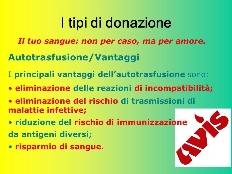 28 I tipi di donazione Il tuo sangue: non per caso, ma per amore. Autotrasfusione/Vantaggi I principali vantaggi dell'autotrasfusione sono: eliminazio