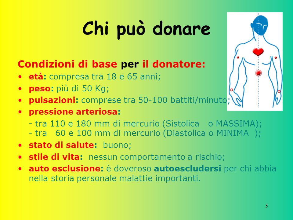 3 Chi può donare Condizioni di base per il donatore: età: compresa tra 18 e 65 anni; peso: più di 50 Kg; pulsazioni: comprese tra 50-100 battiti/minut