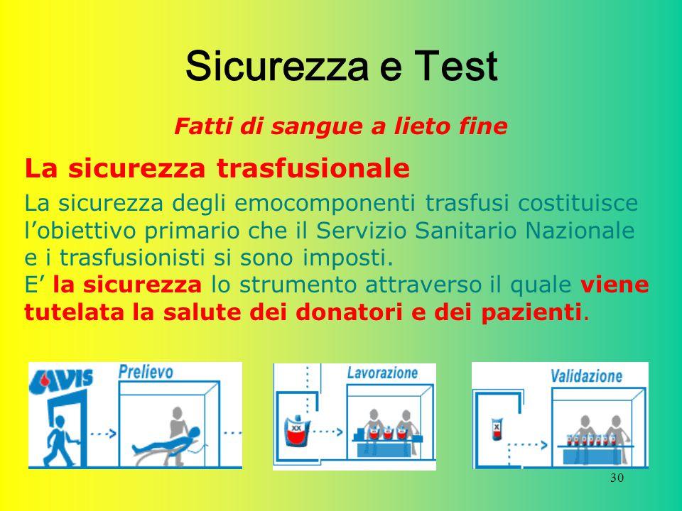 30 Sicurezza e Test Fatti di sangue a lieto fine La sicurezza trasfusionale La sicurezza degli emocomponenti trasfusi costituisce l'obiettivo primario