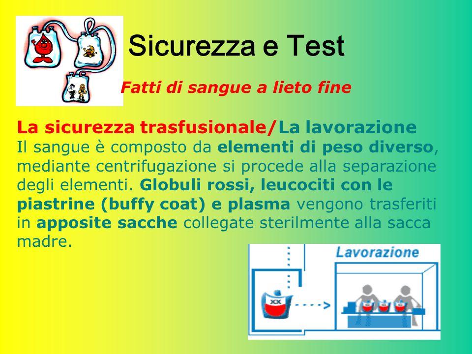 32 Sicurezza e Test Fatti di sangue a lieto fine La sicurezza trasfusionale/La lavorazione Il sangue è composto da elementi di peso diverso, mediante