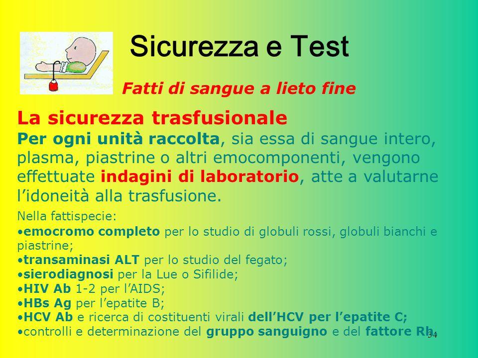34 Sicurezza e Test Fatti di sangue a lieto fine La sicurezza trasfusionale Per ogni unità raccolta, sia essa di sangue intero, plasma, piastrine o al