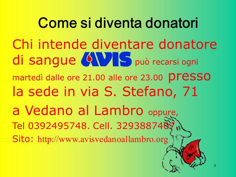 4 Come si diventa donatori Chi intende diventare donatore di sangue può recarsi ogni martedì dalle ore 21.00 alle ore 23.00 presso la sede in via S. S