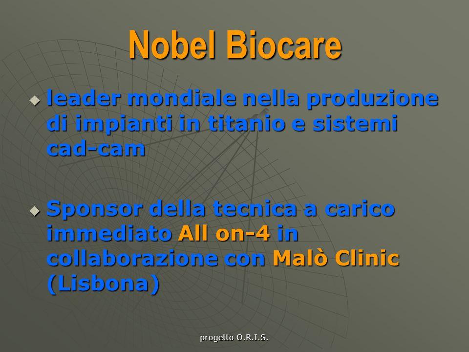 progetto O.R.I.S. Nobel Biocare lllleader mondiale nella produzione di impianti in titanio e sistemi cad-cam SSSSponsor della tecnica a carico